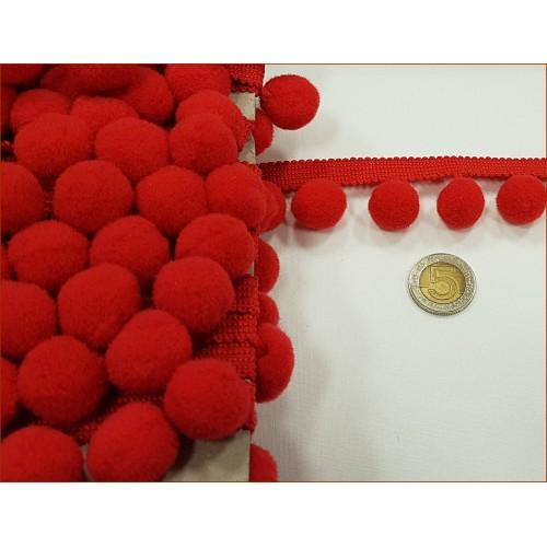 Taśma z Pomponami-Duże - Czerwone