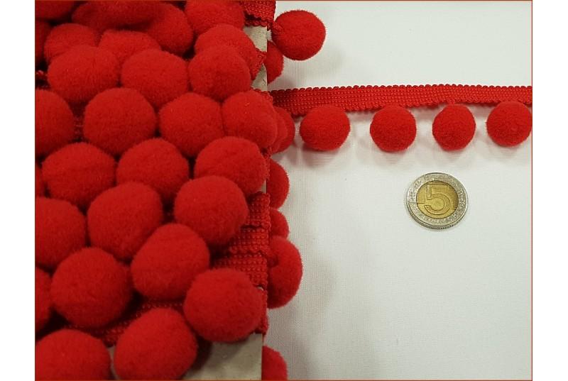 Taśma z Pomponami - Duże - Czerwone