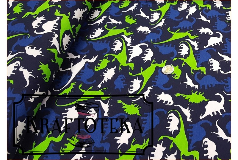 Dzian. Dinozaury Zielone na Granacie