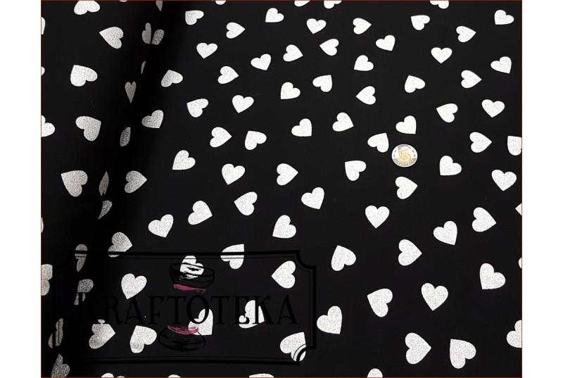 Serca Duże Srebro 3D na Czarnym