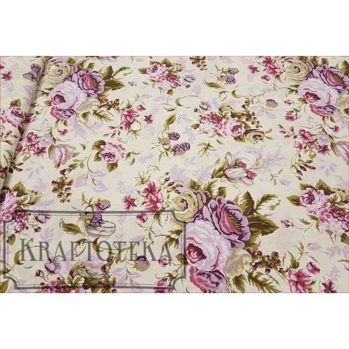 Tkan. Róże Angielskie Duże Fiolet