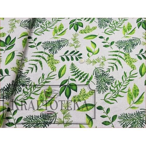 Liście Zielone na Beżu - Dekor