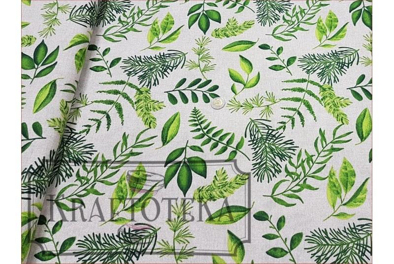 Liscie Zielone na Beżu - Dekor
