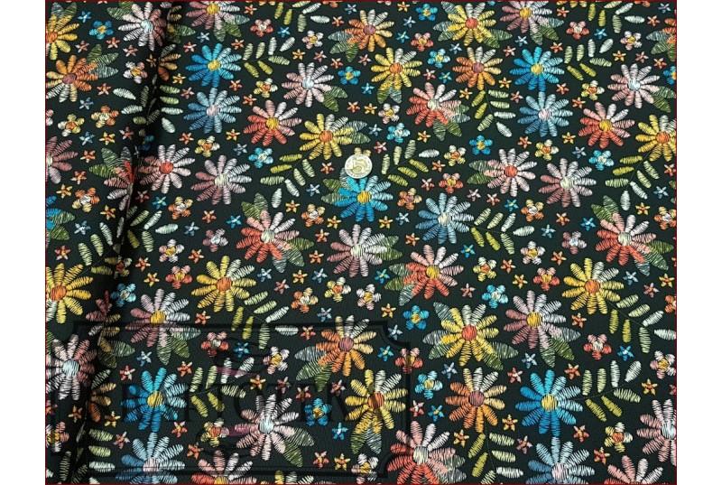 WOD-Kwiaty Haftowane na Czarnym