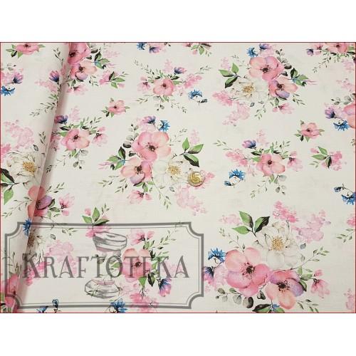 Tkan. Kwiaty Jabłoni na Bieli
