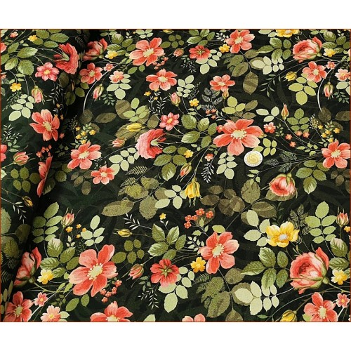 Dzian. Kwiaty Eustoma na Czarnym -Cyfra