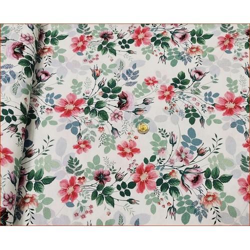Dzian. Kwiaty Eustoma na Bieli -Cyfra