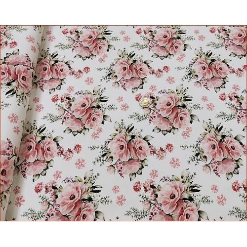 Róże Bukiet Różowy na Ecrue -Cyfra