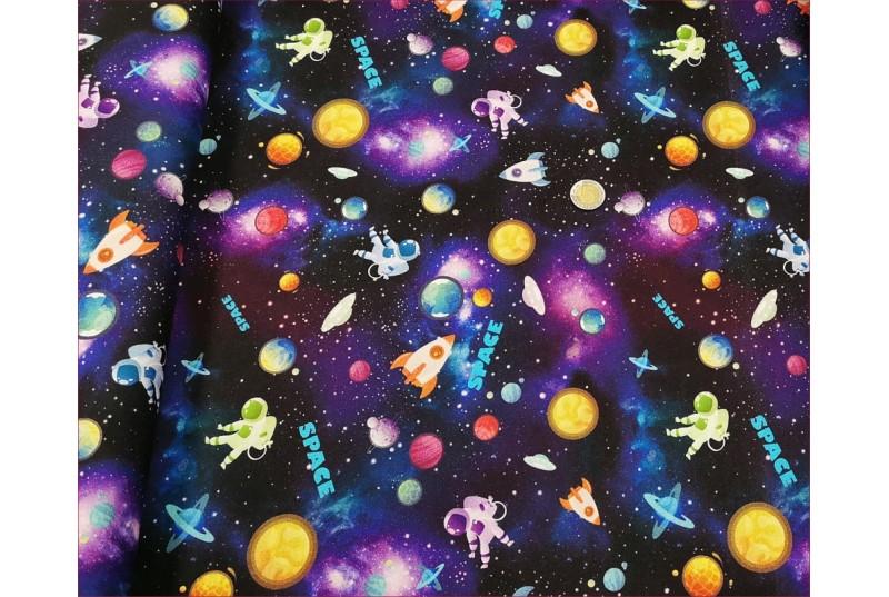Dzian. Kosmos Space na Czarnym -Cyfra