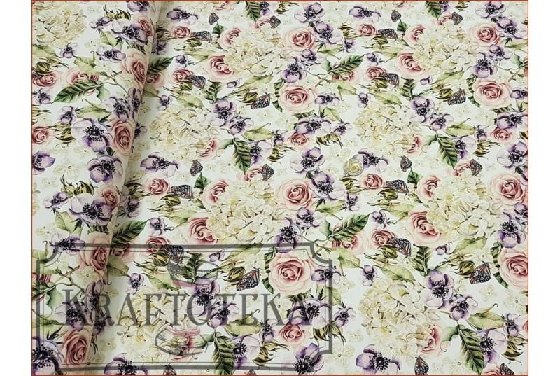 Kwiaty Hortensje i Róże na Off White - Cyfra