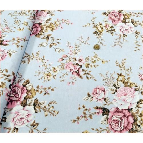 Róże Różowe na Niebieskim -Decor