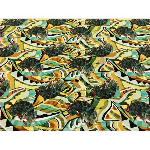 Dzian. Kameleon Zielony Mozaika -Cyfra