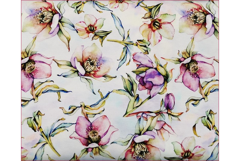 Dzian. Kwiaty Magnolie Fiolet na Ecrue -Cyfra