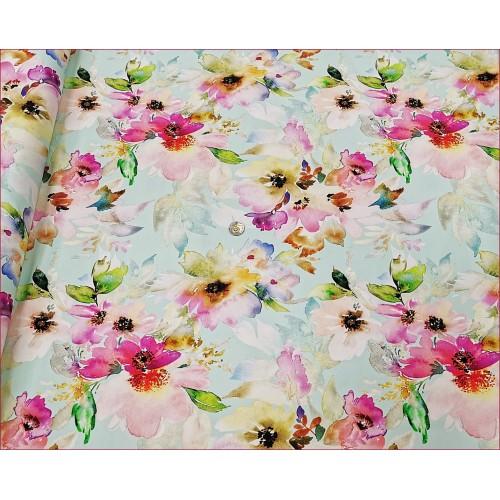 Kwiaty Różowe Pastele na Mięta Jasna -Cyfra