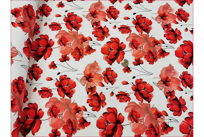 Kwiaty Maki Czerwone na OffWhite -Cyfra