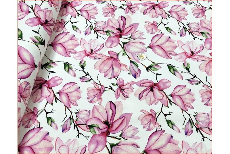 Dzian. Kwiaty Magnolia na Bieli -Cyfra