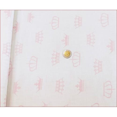 Tkan. Korony Różowe na Białym
