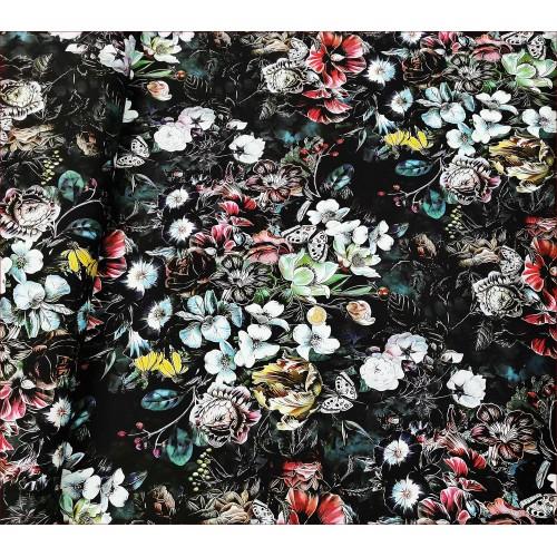Kwiaty Różne z Motylem -Czarny -Cyfra