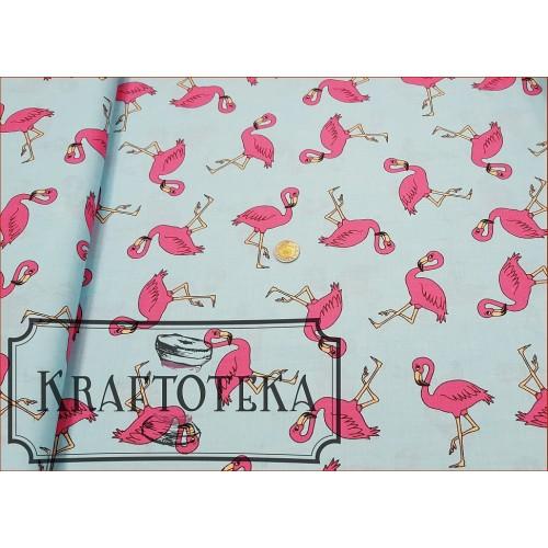 Tkan. Flamingi Różowe na Turkusie