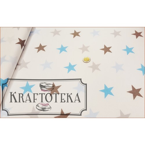 Tkan. Gwiazdy Szaro-Niebieskie na Bieli
