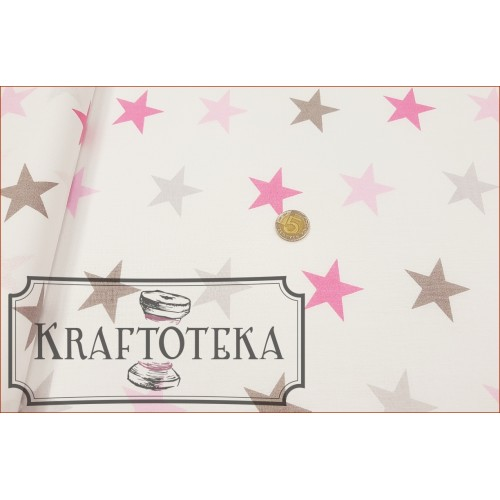 Tkan. Gwiazdy Szaro-Różowe na Bieli