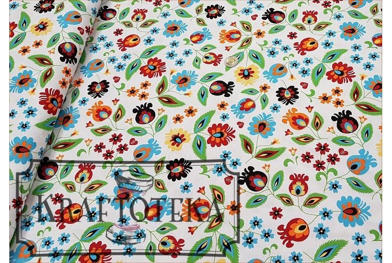 Folk-Kwiaty na Bieli
