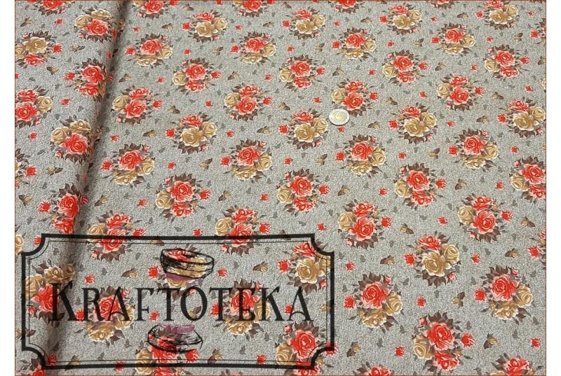 Róże Pomarańczowe na Beżu